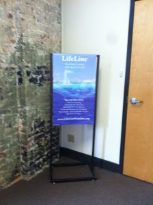 LifeLine sign by door to office