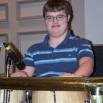 Tim's first year playing the congas in the praise band. He was in eighth grade.
